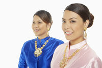 Cheerful women in traditional clothing