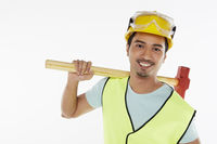 Construction worker holding a hammer