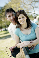 Couple posing in the park