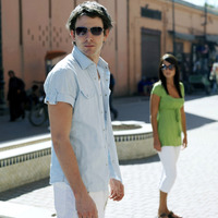 Couple with sunglasses in morocco street