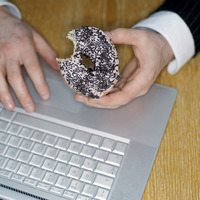 Doughnut and laptop