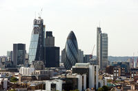 Elevated view of the gherkin and surrounding buildings,london