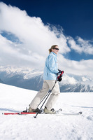 Female skier on skis