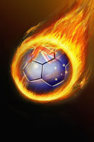 Flaming australia soccer ball