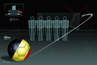 Free kick infographic with belgium soccer ball