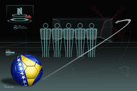 Free kick infographic with bosnia and herzegovina soccer ball