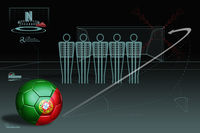 Free kick infographic with portugal soccer ball