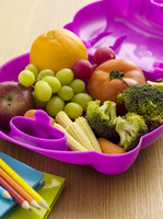 Fruits and vegetables in a lunch box