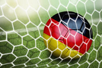 Germany soccer ball in goal net