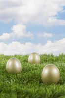 Golden eggs on a field