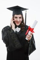 Graduate talking on the mobile phone
