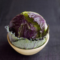 High angle close up of a cabbage