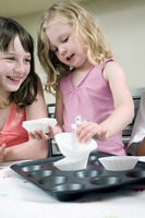 Kids learning baking