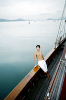 Man enjoying beautiful sea view from the yacht
