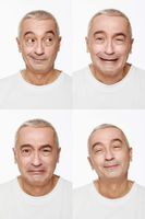 Man making a series of exaggerated faces for the camera