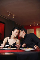 Man whispering into his girlfriend's ear while having dinner in a restaurant