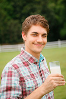 Man with a glass of milk