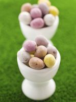 Mini eggs in egg cups