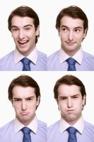 Montage of businessman pulling different expressions