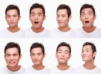 Montage of man pulling different expressions