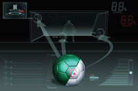 Penalty kick infographic with algeria soccer ball