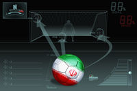 Penalty kick infographic with iran soccer ball