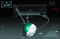 Penalty kick infographic with nigeria soccer ball