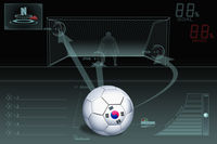 Penalty kick infographic with south korea soccer ball