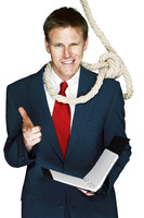 Rope hanging around businessman's neck