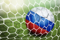 Russia soccer ball in goal net