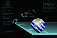Taking a corner infographic with uruguay soccer ball
