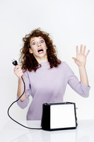 Woman getting an electric shock