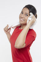 Woman holding a face towel