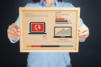 Popular : Woman holding board with brand recognition concept and infographics