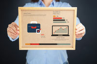 Popular : Woman holding board with business meeting concept and infographics