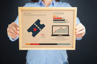 Popular : Woman holding board with coupon concept and infographics
