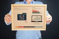 Popular : Woman holding board with data customization concept and infographics
