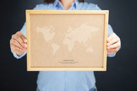 Popular : Woman holding board with global marketing concept