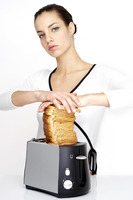 Woman toasting breads