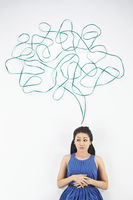 Woman with speech bubble against white background