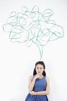 Woman with thought bubble against white background