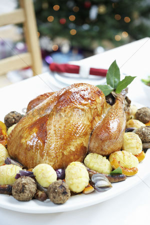 Interior : Christmas turkey on table close up