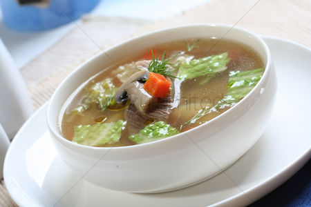 Food : Close up of broth soup