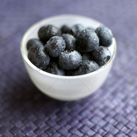 Food : Close up of some blueberries in a bowl