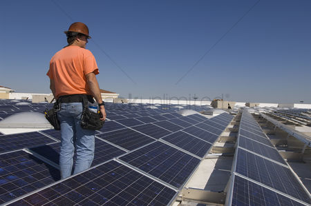 Environment : Electrical engineer among solar panels at solar power plant
