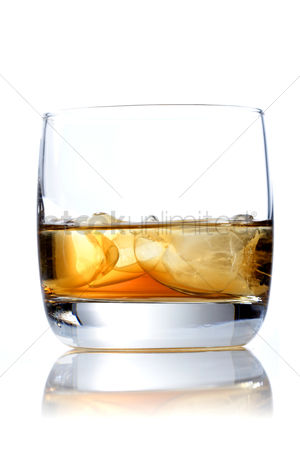 Party : Glass of whisky on white background