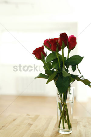 Romantic : Red roses in a vase
