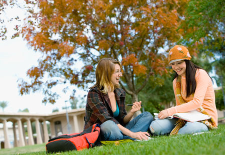 School : Students studying on campus