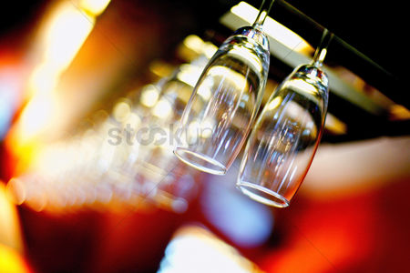 Food : Wine glasses hanging in the bar