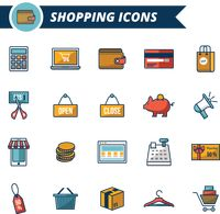 A collection of shopping icons